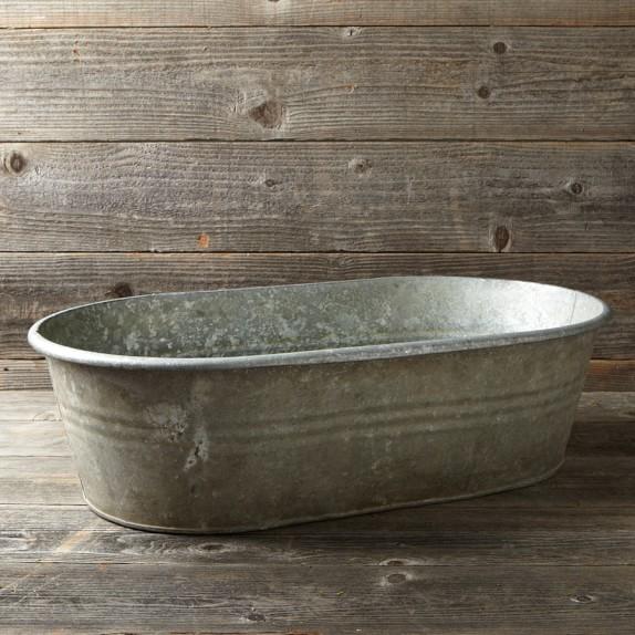 Vintage Galvanized Bathtub Planter Williams Sonoma