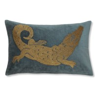 Alligator Zardozi Pillow Cover, Teal