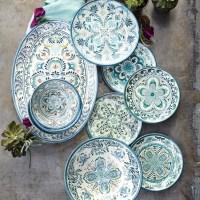 Veracruz Blue Melamine Dinner Plates, Set of 4