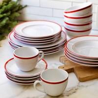 Brasserie Red-Banded Porcelain Dinner Plates, Set of 4 ...
