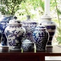 "Blue & White Ginger Jar with Lid, 12"" Urn | Williams Sonoma"