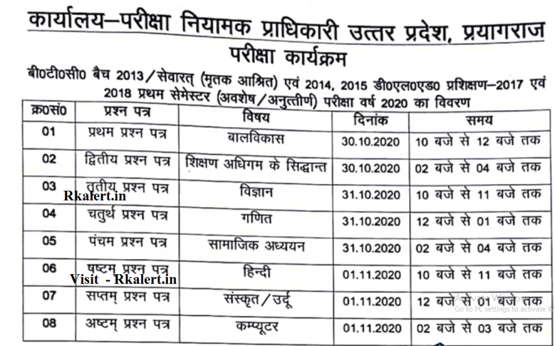 UP BTC Deled Time Table 2020 Exam Date Sheet