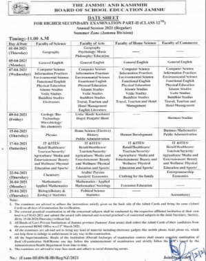 JKBOSE 12th Time Table