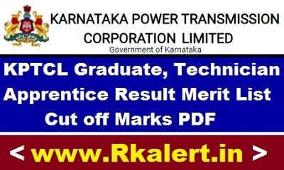 KPTCL Apprentice Result Merit List Cut off Marks For Graduate and Technician