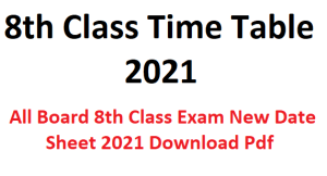 8th Class Time Table 2021