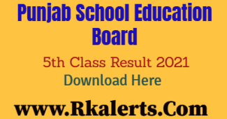 PSEB 5th Class Result 2021 Name Wise