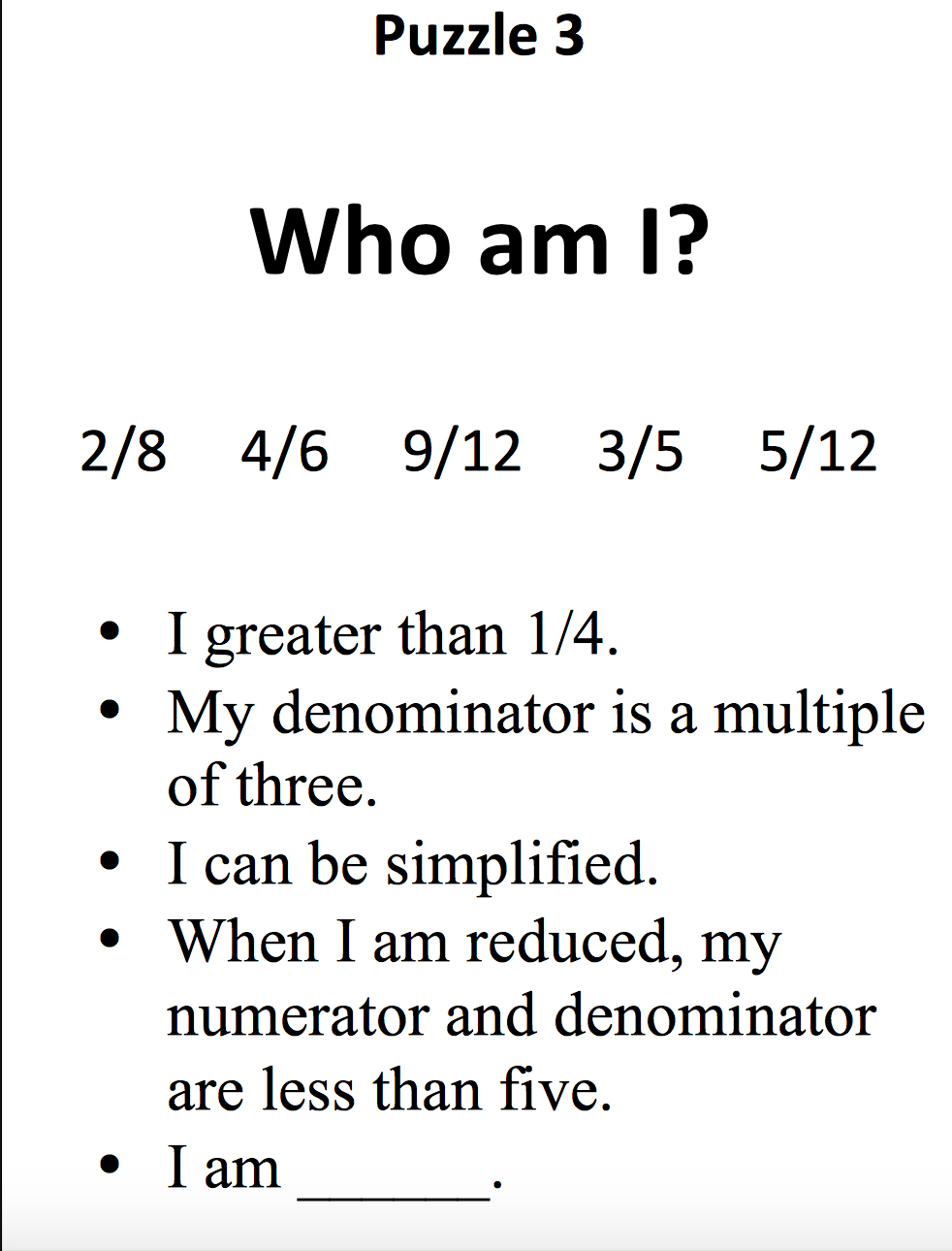 medium resolution of Fourth Grade Math Lesson – Who Am I Fraction Puzzles   Rachel Kappius