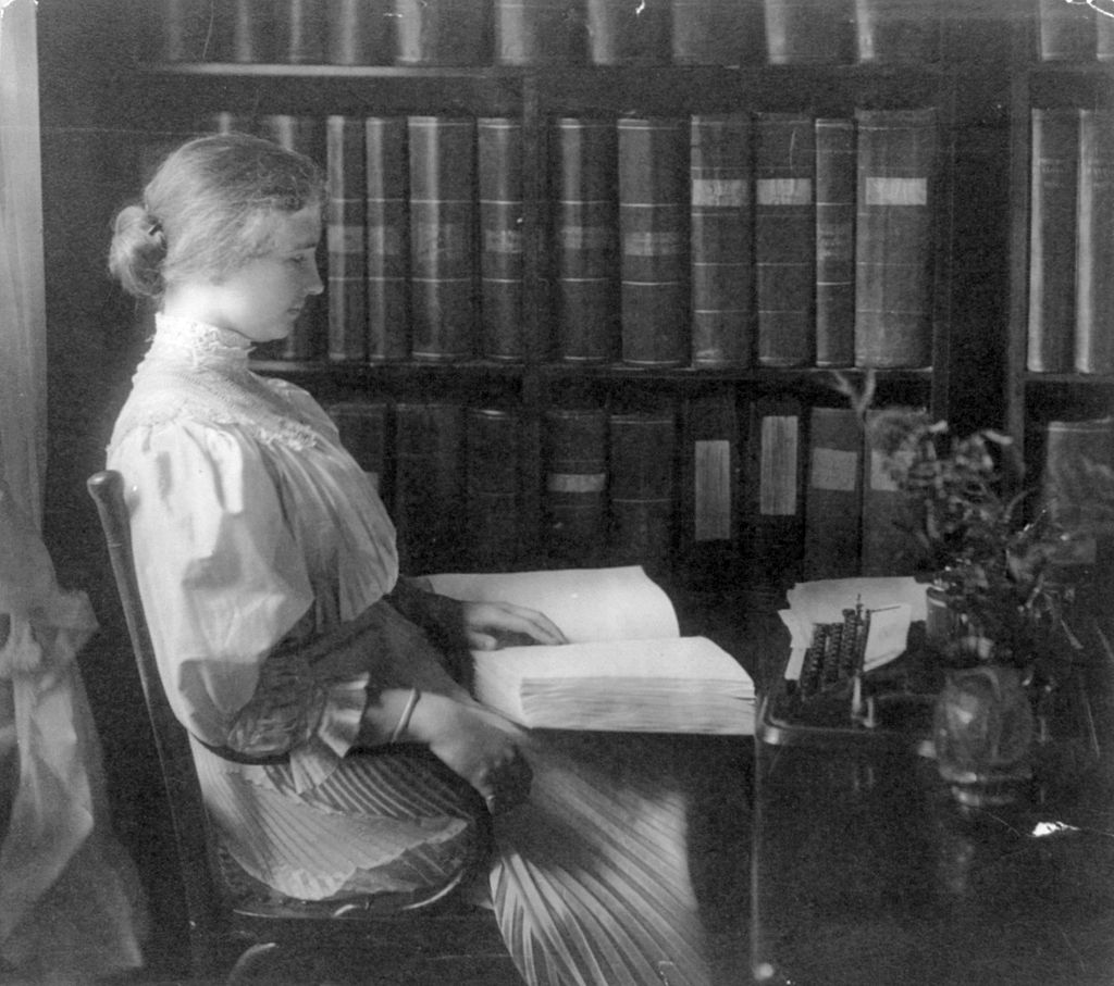 Helen Keller reading braille, c. 1907