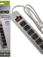 Power All® Indoor Metal Surge Strip – 6 Outlet