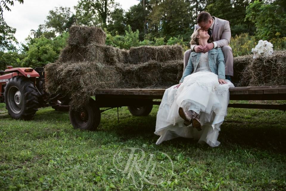 Farm wedding bride and groom