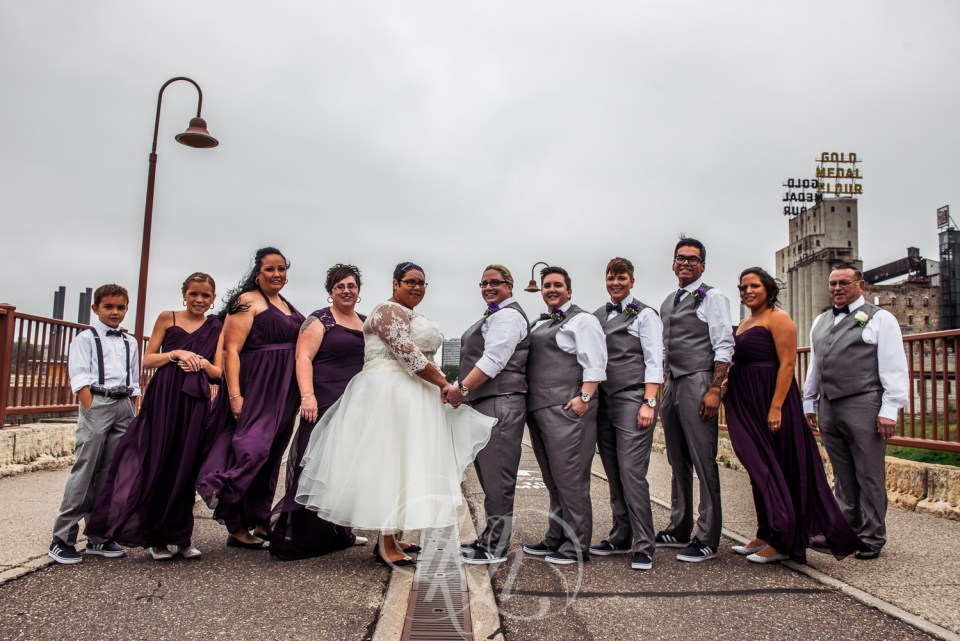 Stone Arch Bridge wedding party photo