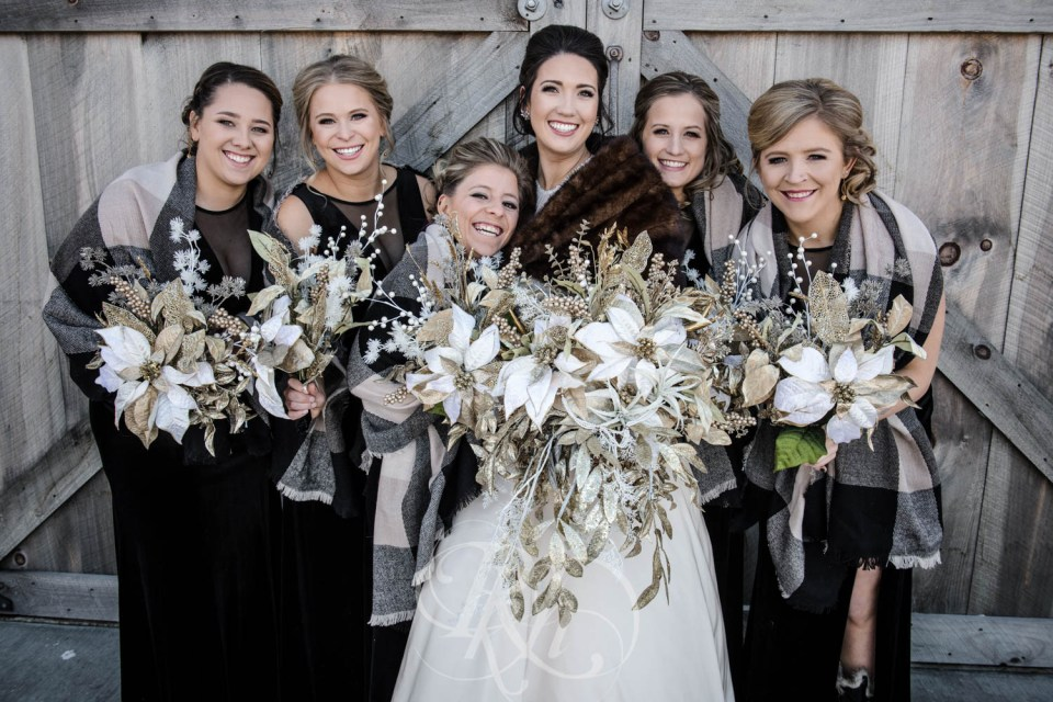 New Years Eve wedding bridal party