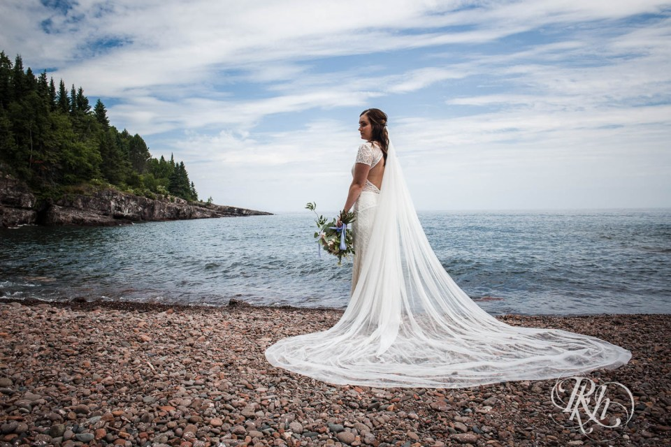 Bride in front of Lake Superior