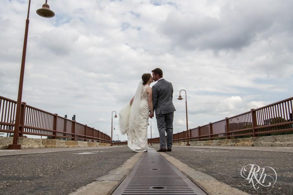 September wedding on stone arch bridge