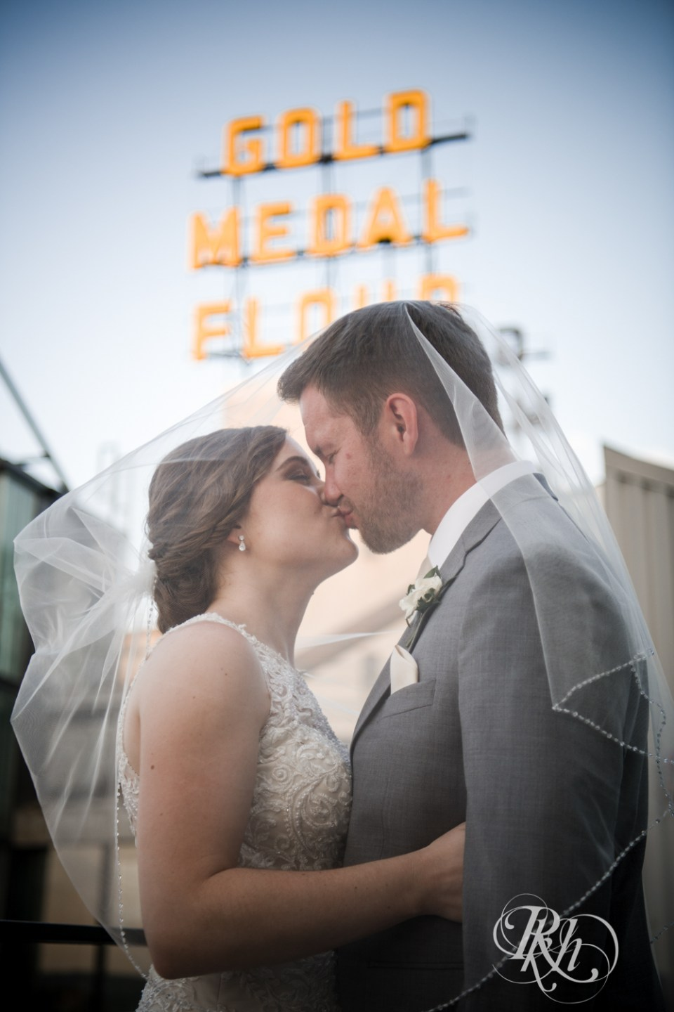 gold medal flour sign bride and groom