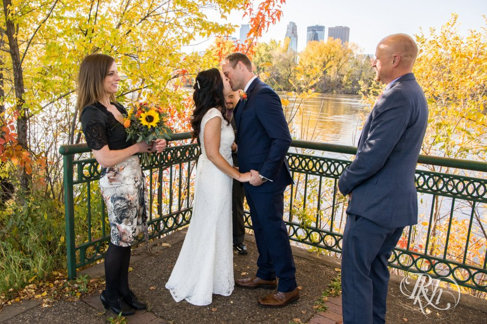 Outdoor wedding first kiss in Minneapolis
