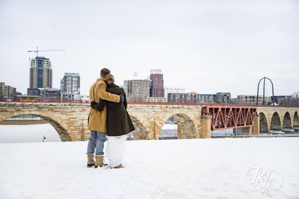 Winter wedding photography Minneapolis skyline