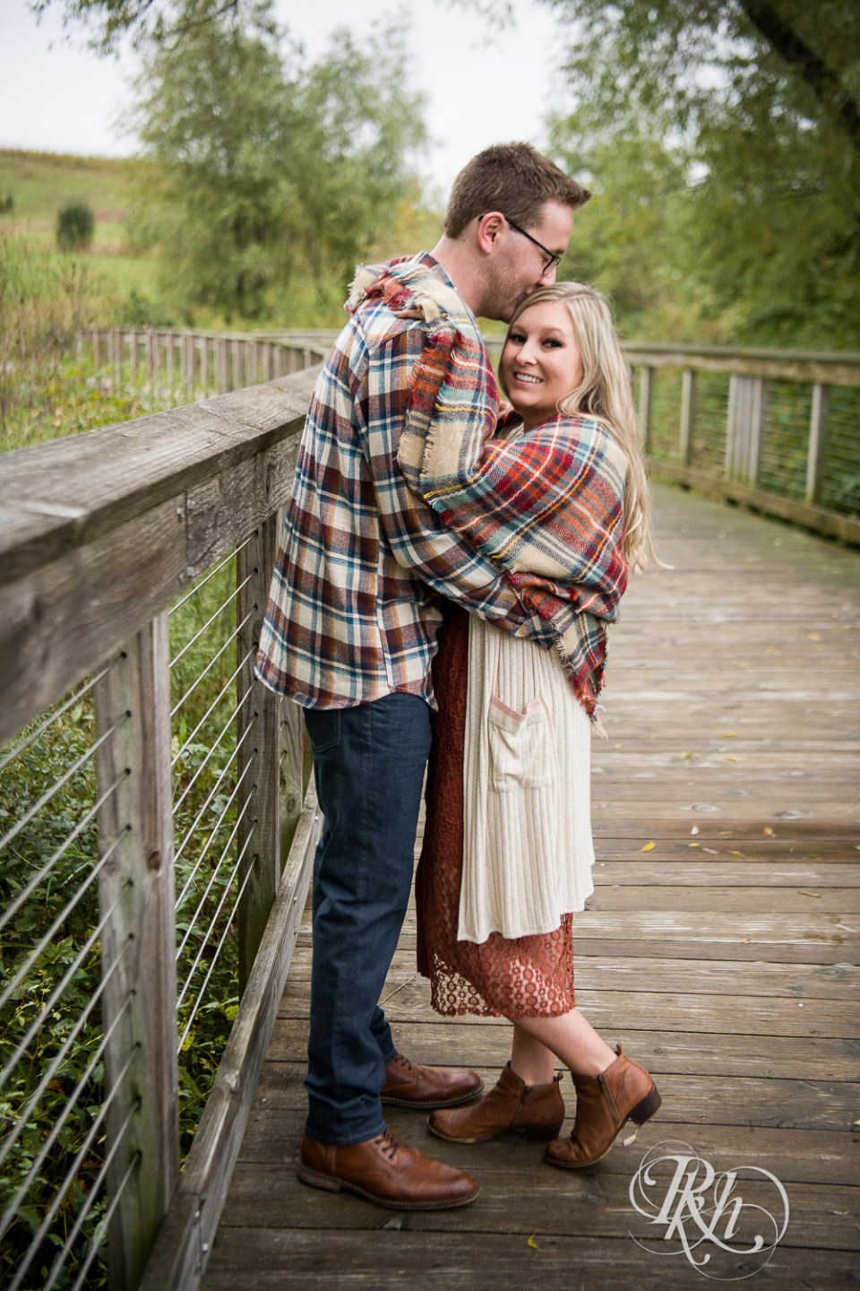 Fall Engagement Photography couple kissing
