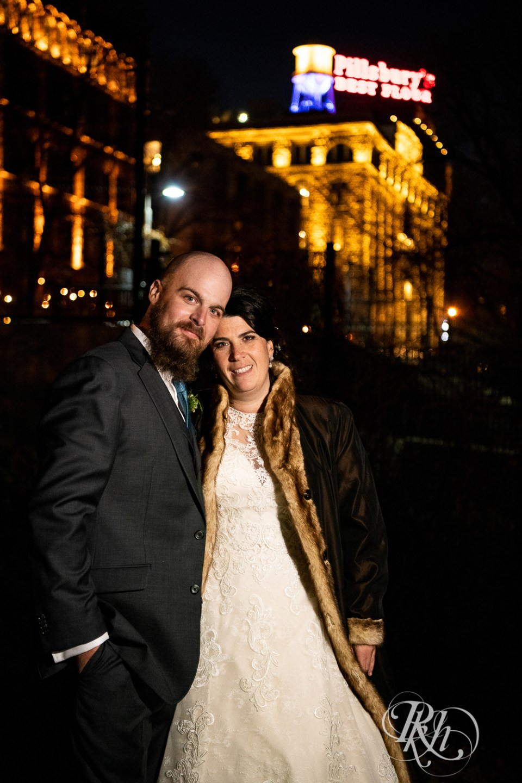november wedding night bride and groom