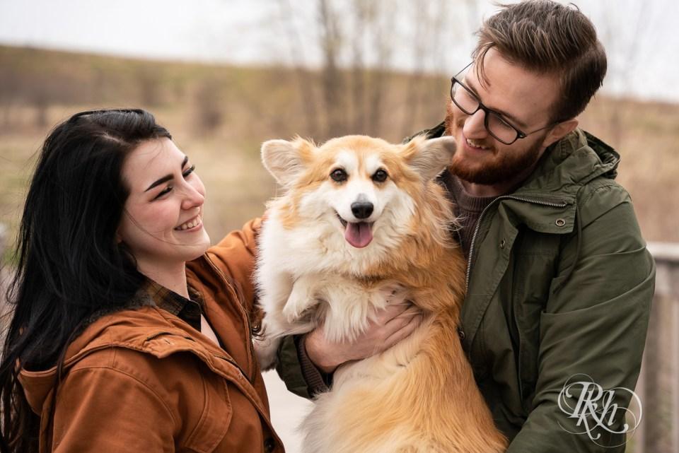 engagement photography corgi dog