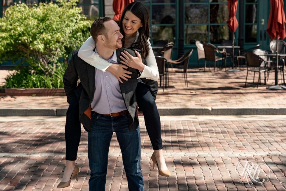 saint anthony main engagement photos couple piggyback