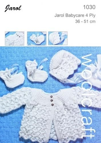 1030 4Ply Baby Jacket Hat and Booties
