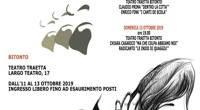 """""""DI VOCE IN VOCE"""": XI edizione del festival metropolitano al teatro traetta di bitonto"""