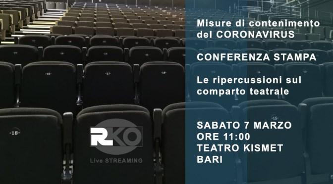 Conferenza Stampa domani sulle ripercussioni indotte dal Coronavisus sul comparto teatrale