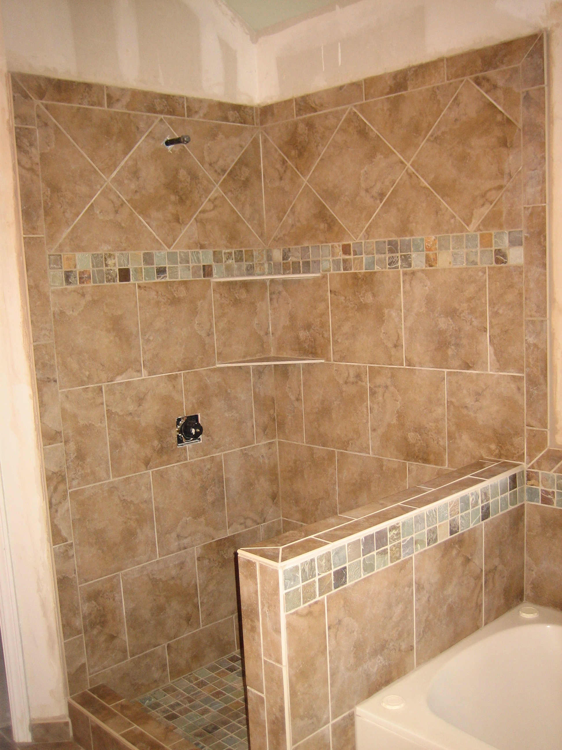Pictures For Bathroom Walls Shower Pony Wall Tub Surround 9 2008 Rk Tile And Stone