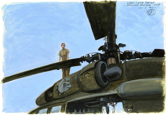 woman on helicopter