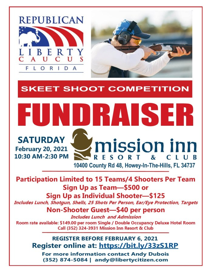 RLC Skeet Shoot Competition FUNDRAISER – Saturday, February 20th, 2021 @ Mission Inn Resort & Club | Howey-in-the-Hills | Florida | United States