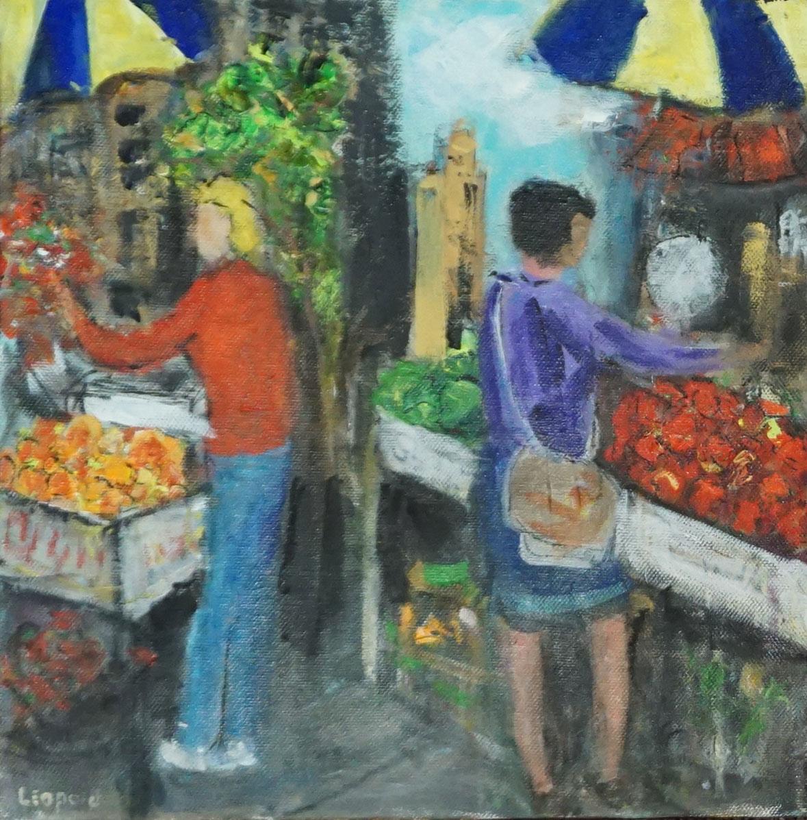 Market Scene 1---Purple Lady