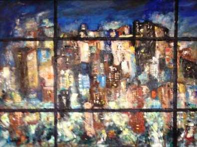 City Through the Window at Night