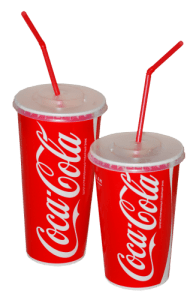 two paper cups of coca-cola with lids and straws