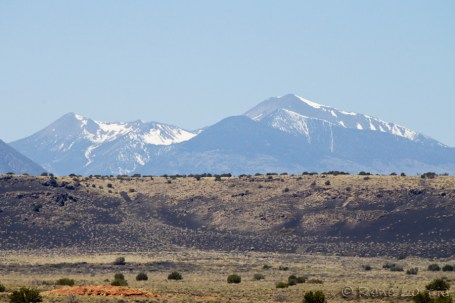 Twin Peaks of Flagstaff seen from Wupatki. They are still sacred mountains to the Hopi and Navajo.