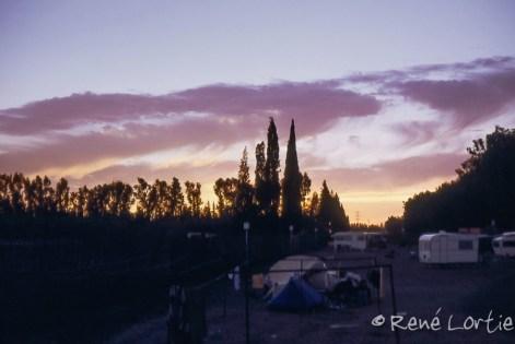 Coucher de soleil au camping de Marrakech