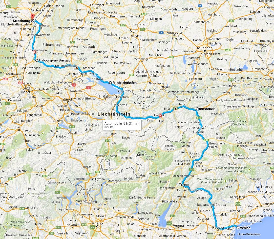 Le trajet de Venise à Stasbourg en passant par l'Autriche et l'Allemagne