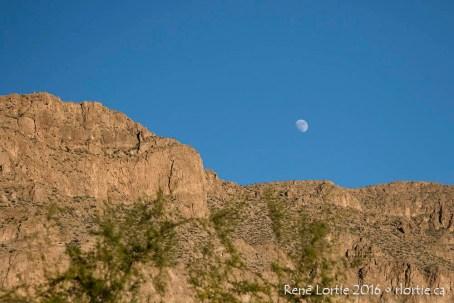 Lune au coucher de soleil à Boquillas Canyon