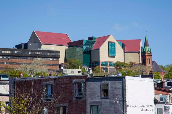 The Rooms vu du centre-ville.