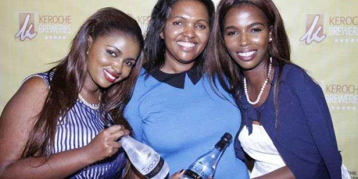 Keroche Breweries CEO Tabitha Karanja (centre) with her daughters Anerlisa (left) and Tecra