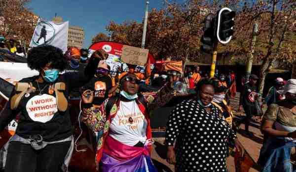 Around 200 sex workers took to the streets of Johannesburg  demand prostitution be decriminalised.