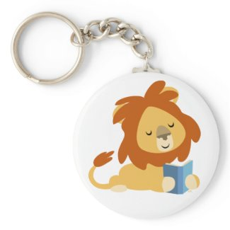 Reading Cartoon Lion keyring keychain