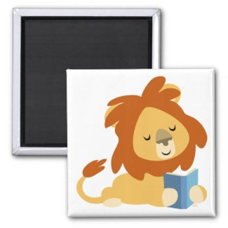 Reading Cartoon Lion magnet magnet