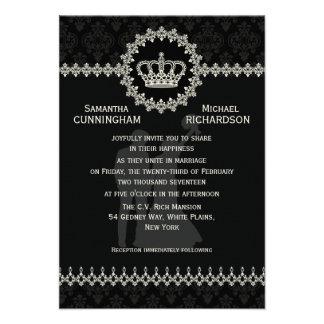"""3,5"""" x 5"""" moderne Spitzee krönen Hochzeits-Pass Personalisierte Ankündigungskarten"""
