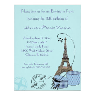 Ein Abend in der Paris-Blau-Themed Party Einladung