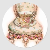 Antique Rose Teacup and Victorian Chair Classic Round ...