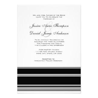 Black and White Stripes Wedding Invitation