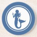 Blue mermaid sandstone coaster
