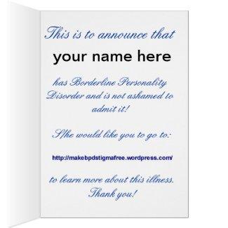 BPD Diagnosis Announcement Card