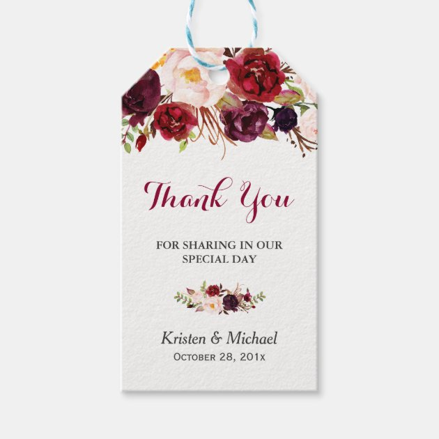 discount kitchen supplies remodeling houston tx burgundy marsala floral wedding favour thank you gift tags ...